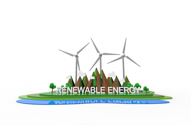 Eco nature landscape, renewable energy.