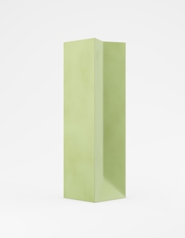 エコ包装モックアップ袋クラフト紙片面。白い背景の宣伝広告に背の高い狭い緑のテンプレート。 3dレンダリング