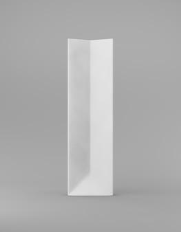 エコ包装モックアップバッグクラフト紙側。灰色の背景の宣伝広告に背の高い狭い白いテンプレート。 3dレンダリング