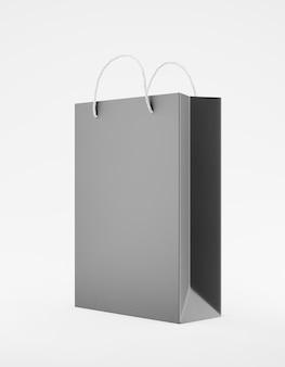エコ包装モックアップバッグクラフト紙のハンドルの半分の側面。白い背景の宣伝広告のスタンダートミディアムブラックテンプレート。 3dレンダリング