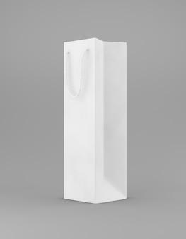 エコ包装モックアップバッグクラフト紙のハンドルの半分の側面。灰色の背景の宣伝広告に背の高い狭い白いテンプレート。 3dレンダリング