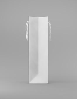 ハンドル側がエコ包装のモックアップバッグクラフト紙。灰色の背景の宣伝広告に背の高い狭い白いテンプレート。 3dレンダリング