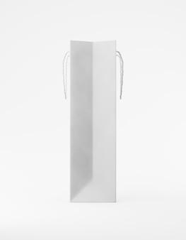 ハンドル側がエコ包装のモックアップバッグクラフト紙。白い背景の宣伝広告に背の高い狭い白いテンプレート。 3dレンダリング