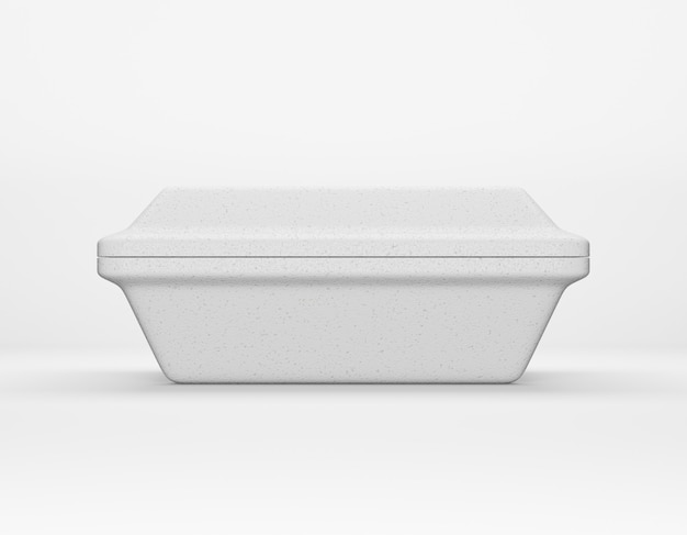 Eco packaging rectangular box bio foam mockup on white background. thermo container eco friendly recycled material for lunch, food or things. 3d rendering