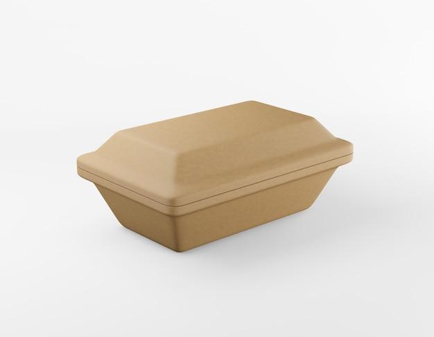 エコ包装長方形ボックスクラフト紙モックアップホワイトバックグラウンド3dレンダリング