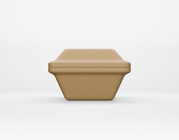 エコ包装正方形ボックスクラフト紙モックアップホワイトバックグラウンド3dレンダリング
