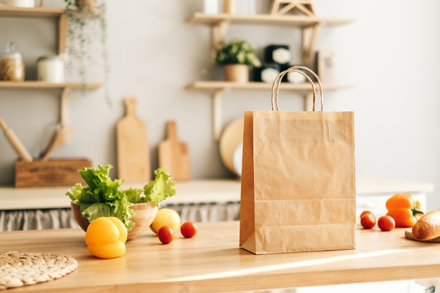 Eco shopping paper bag with fresh vegetables