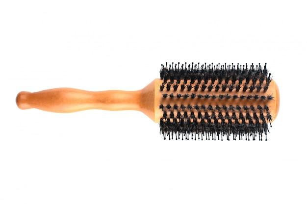 Eco wooden round hairbrush on isolated
