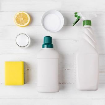 Concetto di prodotti per la pulizia ecologici