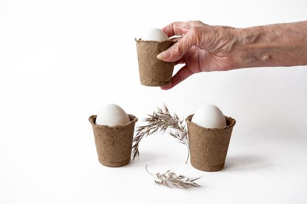 白い背景の上の泥炭鉢にイースター白い卵と生態学的概念。 Premium写真