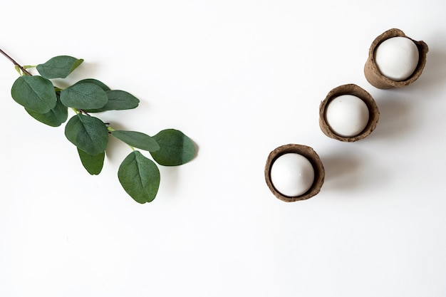 Ecological concept with easter white eggs in peat pots on a white background.
