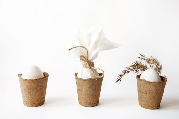 テキストのためのスペースを持つイースター白い卵と生態学的概念 Premium写真