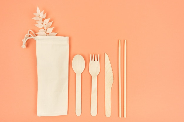 Ecological cutlery for everyday use spoon fork wood knife and chinese chopsticks with eco bag