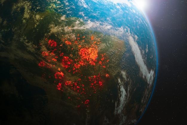 Экологическая катастрофа пожаров на амазонке в южной америке Premium Фотографии