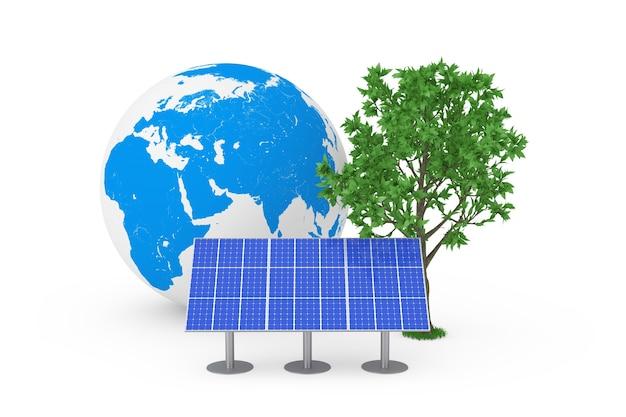 Концепция экологической энергии. синяя панель картины солнечных батарей, земной шар и зеленое дерево на белом фоне. 3d рендеринг