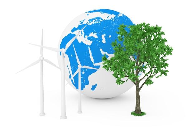생태 에너지 개념입니다. 풍력 터빈 풍차, 지구 지구 및 흰색 배경에 녹색 나무. 3d 렌더링