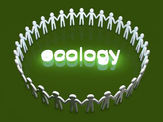 エコロジー。輪になって立っているアイコンの人々のグループ。