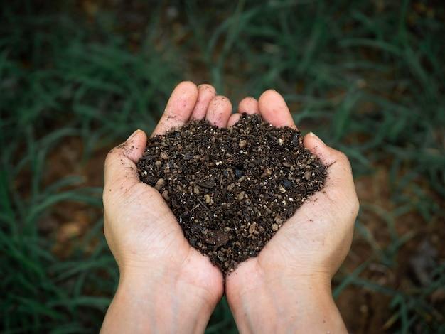 Понятие экологии. закройте вверх по женской руке, держащей органическую почву, полную естественного вещества над фоном темно-зеленой травы.