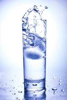 Ecology concept. splash from ice thrown into a glass of clean water