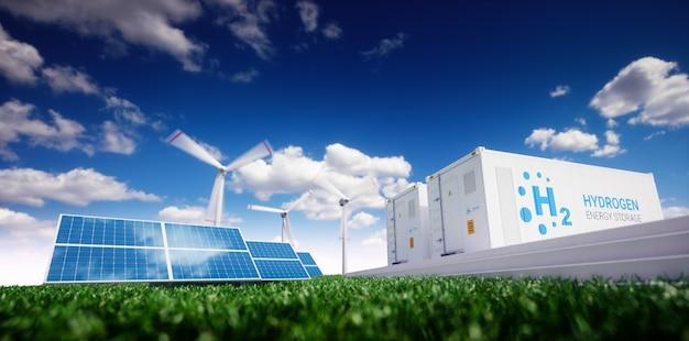 Энергетическое решение для экологии. энергия к концепции газа. хранение водородной энергии с помощью возобновляемых источников энергии - фотоэлектрические и ветряные электростанции в свежей природе. 3d-рендеринг.