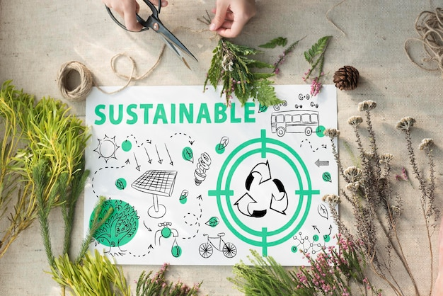 エコロジーにやさしいエネルギー環境持続可能なコンセプト