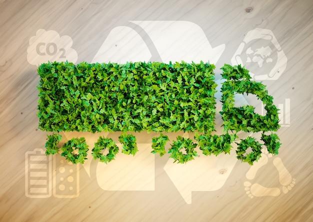 エコロジーロジスティクスのコンセプト。関連するエコロジーアイコンと木製の机の上の緑のトラックの3dイラスト。