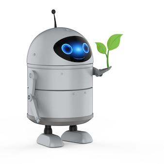 Концепция технологии экологии с 3d-рендерингом робота-андроида или робота с искусственным интеллектом с зелеными листьями