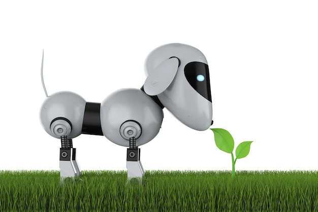 Концепция технологии экологии с 3d-рендерингом собачьего робота с зелеными листьями