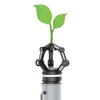 Концепция технологии экологии с 3d-рендерингом руки робота с зелеными листьями