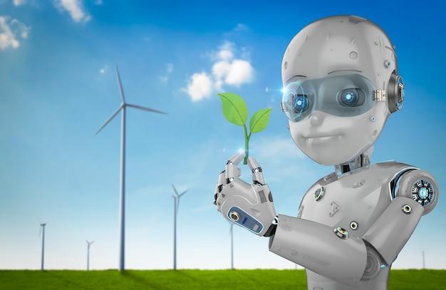 Концепция технологии экологии с 3d-рендерингом мальчика-робота с зелеными листьями