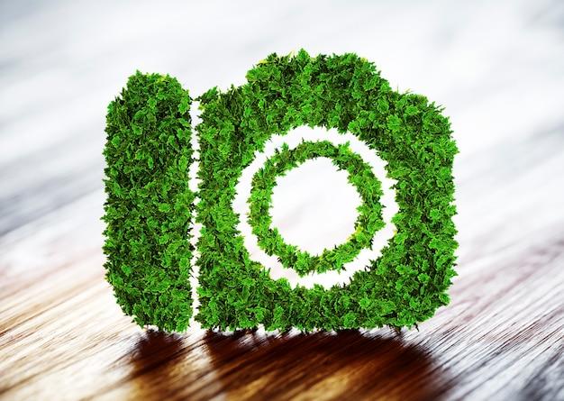 생태 관광 개념입니다. 흐릿한 나무 배경이 있는 녹색 카메라의 3d 그림.