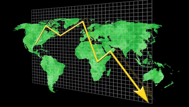 Econimical crisis concept. spread in the world, economy is down. 3d illustration