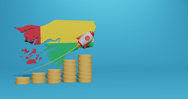 Economic growth in the country of guinea bissau for infographics and social media content in 3d rendering
