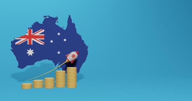 Экономический рост в стране австралии для инфографики и контента социальных сетей в 3d-рендеринге