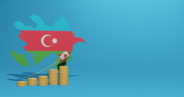 Экономический рост в азербайджане для инфографики и контента социальных сетей в 3d-рендеринге