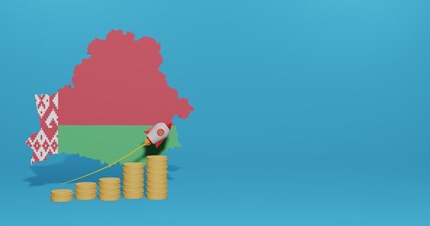Экономический рост в стране беларусь для инфографики и контента социальных сетей в 3d-рендеринге