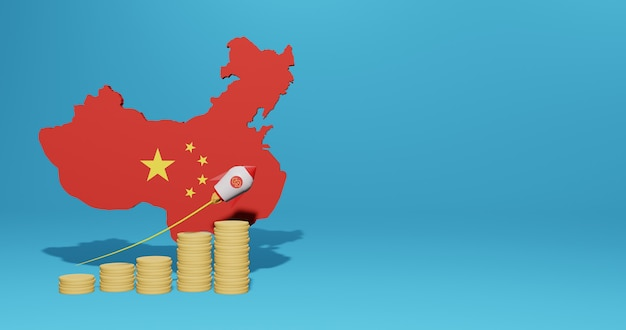 Экономический рост в стране китая для инфографики и контента социальных сетей в 3d-рендеринге