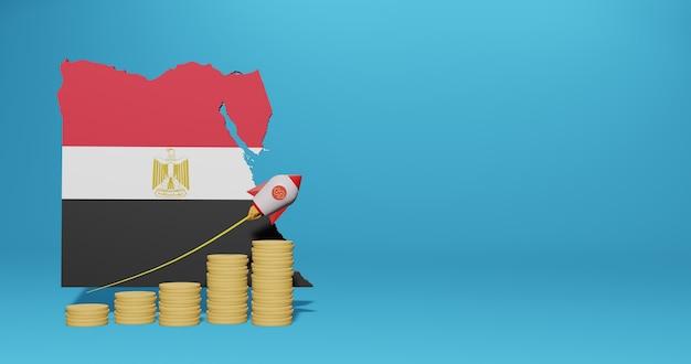Экономический рост в стране египта для инфографики и контента социальных сетей в 3d-рендеринге