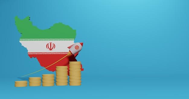 Экономический рост в стране иран для инфографики и контента социальных сетей в 3d-рендеринге
