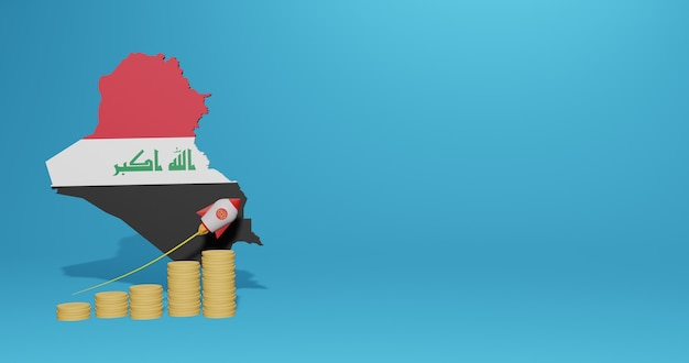 Экономический рост в стране ирак для инфографики и контента социальных сетей в 3d-рендеринге