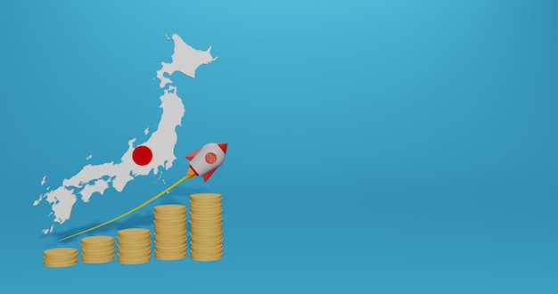 3dレンダリングのインフォグラフィックとソーシャルメディアコンテンツのための日本国の経済成長