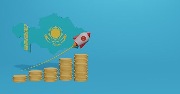 Экономический рост в стране казахстан для инфографики и контента социальных сетей в 3d-рендеринге