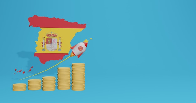 3dレンダリングのインフォグラフィックとソーシャルメディアコンテンツのためのスペインの国の経済成長
