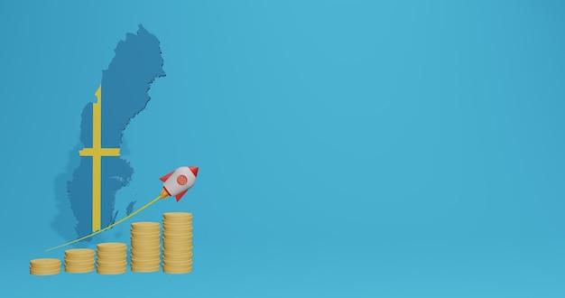 Экономический рост в стране швеция для инфографики и контента социальных сетей в 3d-рендеринге