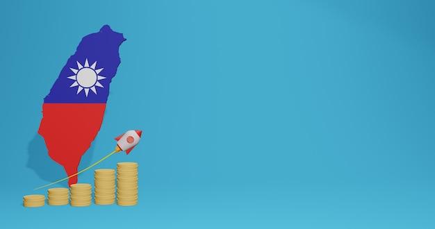 Экономический рост в стране тайвань для инфографики и контента социальных сетей в 3d-рендеринге