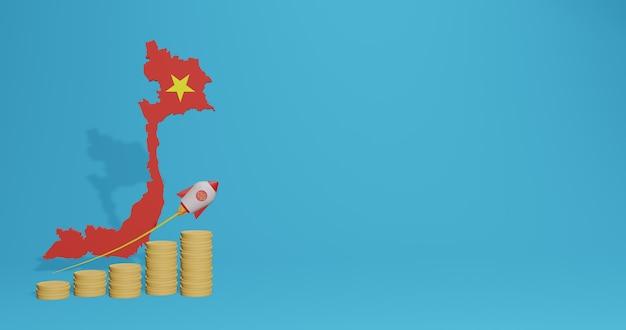 Экономический рост во вьетнаме для нужд социальных сетей, телевидения и фона веб-сайта. пустое пространство можно использовать для отображения данных или инфографики в 3d-рендеринге.