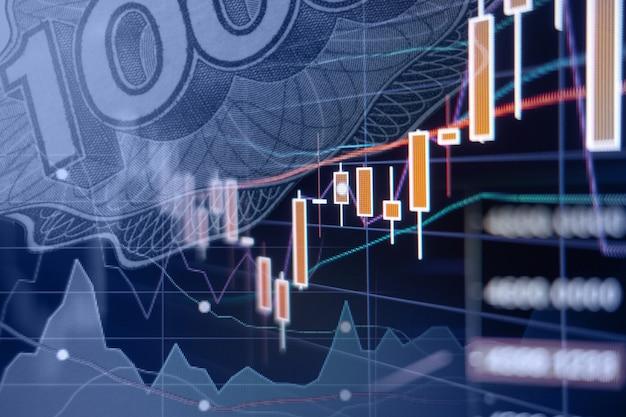 Экономический рост - графики и диаграммы фондового рынка - финансовый и деловой фон