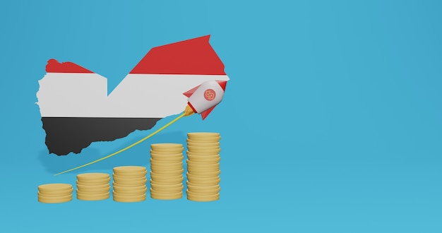 Economic growth in yemen for the needs of social media tv and website background cover blank space can be used to display data or infographics in 3d rendering