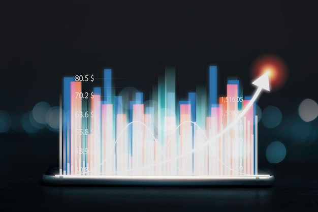 Economic and profit investment growth concept , stock market with increasing arrow on black background.