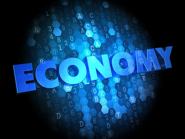 Economy - blue color text on dark digital background.